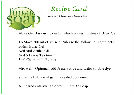 Recipe Card Arnica and Chamomile muscle rub