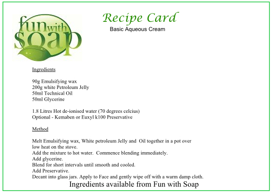 Recipe Card Basic Aqueous Cream