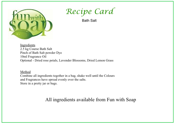 Recipe Card Bath Salts.