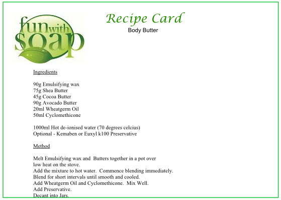 Recipe Card Body Butter
