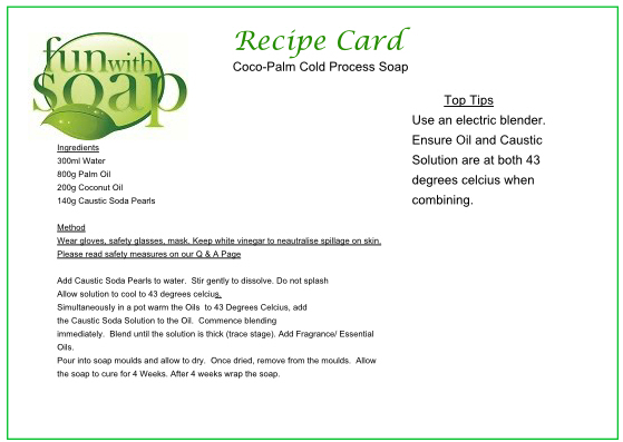 Recipe Card Coco Palm Cold Process soap.