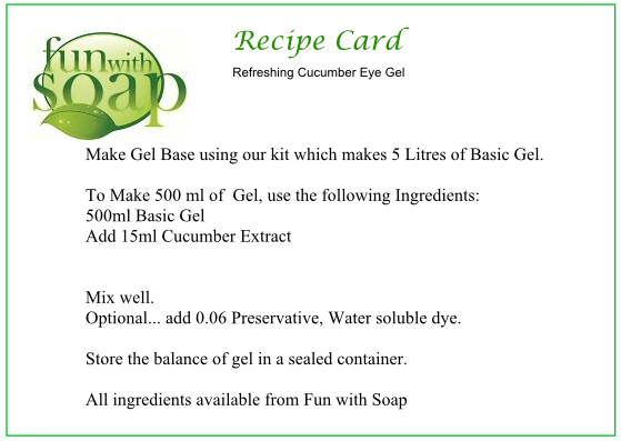Recipe Card Cucumber Eye Gel