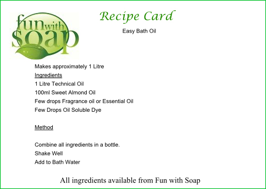 Recipe Card Easy Bath Oil.