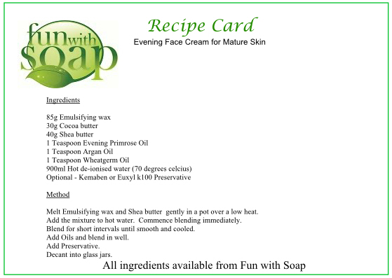 Recipe Card Evening Face Cream for mature skin.