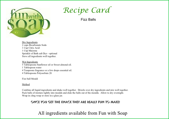 Recipe Card Fizz Balls.
