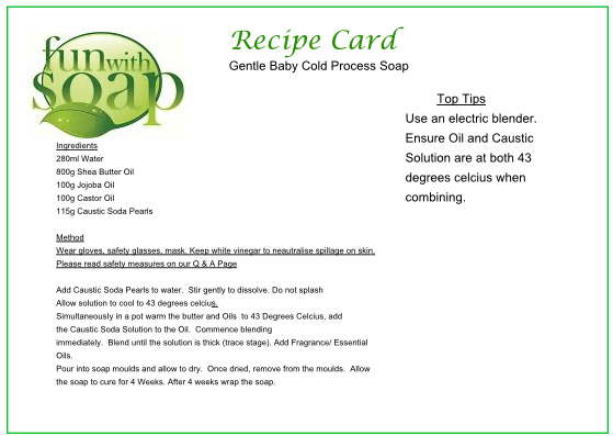Recipe Card Gentle Baby Cold Process soap
