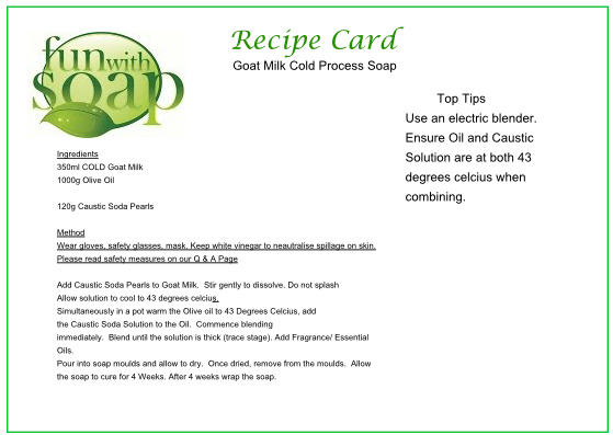 Recipe Card Goat Milk Cold Process Soap.