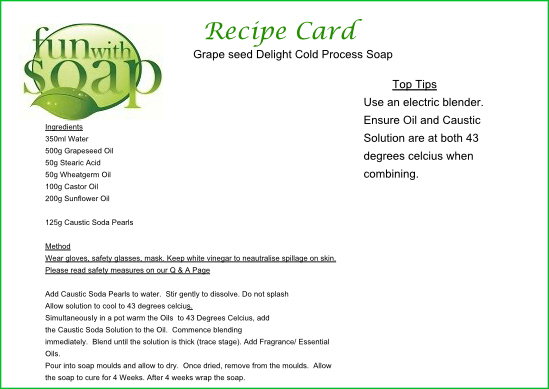 Recipe Card Grapeseed Delight.