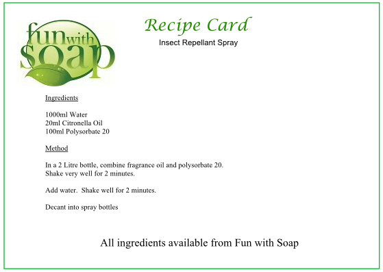 Recipe Card Insect repellant Spray.