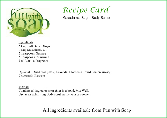Recipe Card Macadamia Body Scrub