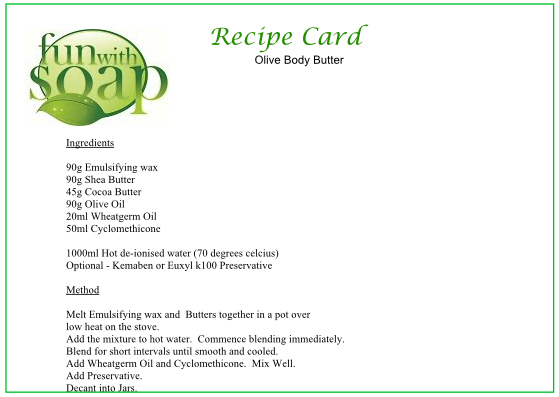 Recipe Card Olive Body Butter