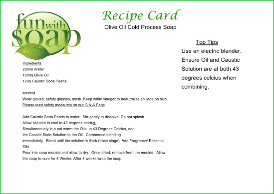 Recipe Card Olive Oil Cold Process soap.