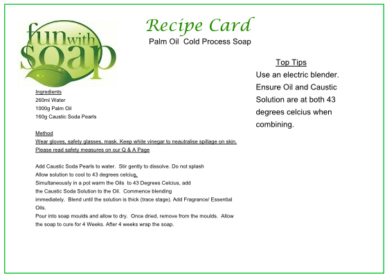 Recipe Card Palm oil Cold Process soap