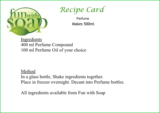 Recipe Card Perfume