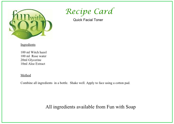 Recipe Card Quick Toner.