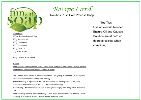 Recipe Card Rooibos Rush Cold Process Soap