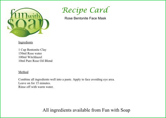Recipe Card Rose Bentonite face mask