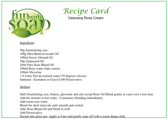 Recipe Card Rose Cleansing Milk Cream.