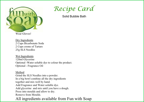 Recipe Card Solid Bubble Bath