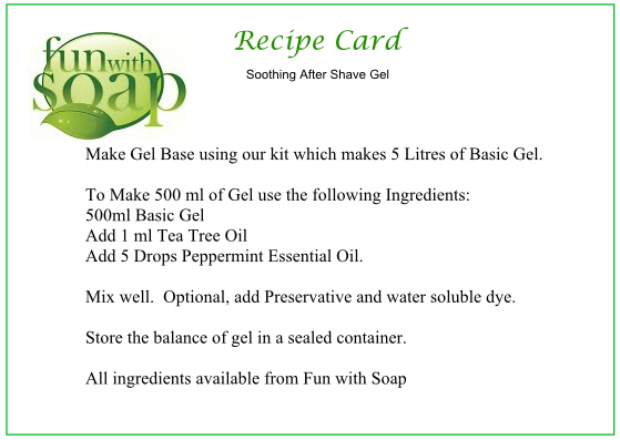 Recipe Card Soothing after shave gel