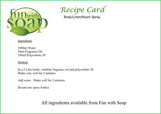 Recipe Card Spray.