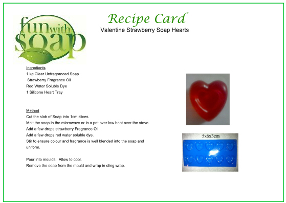Recipe Card Strawberry Valentine heart soap