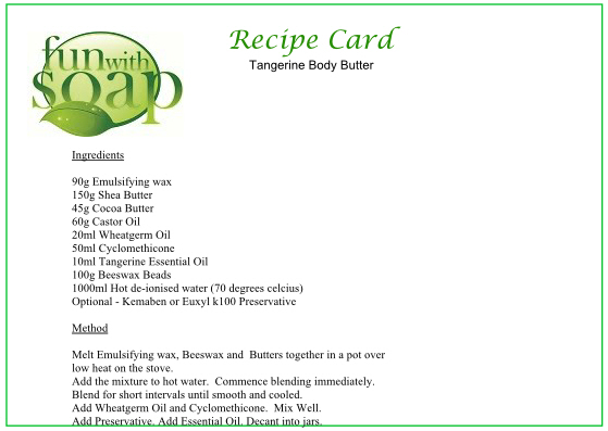 Recipe Card Tangerine Body Butter