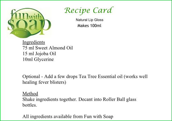 recipe card lip gloss